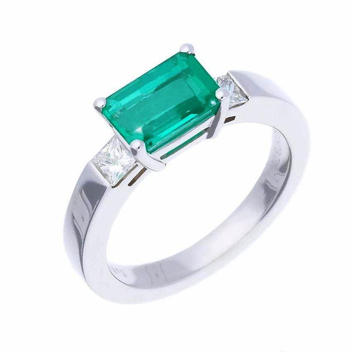 Buchwald Ring Buchwald white gold emerald and diamond trilogy ring