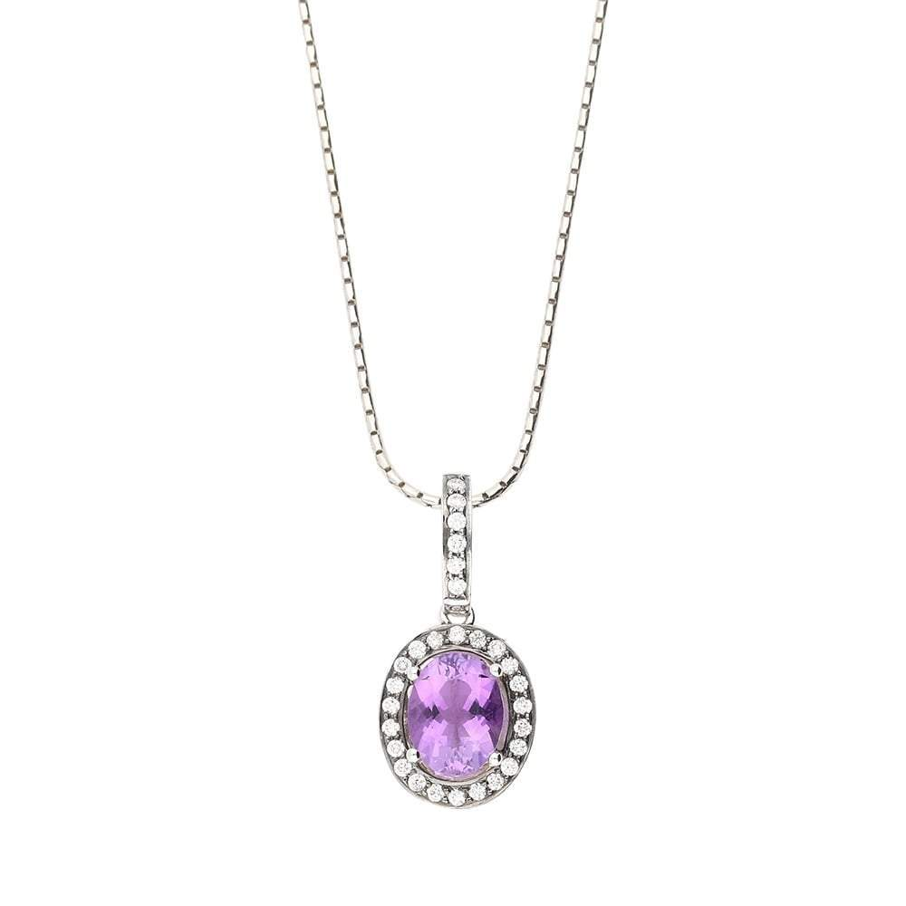 Buchwald Pendant Buchwald white gold oval amethyst and diamond pendant