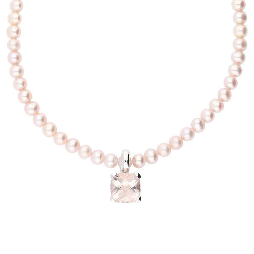 Buchwald Neckwear Buchwald white gold pink morganite pearl necklace