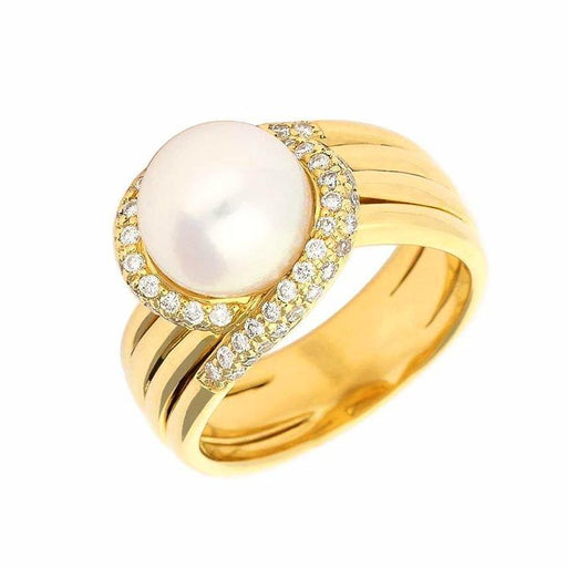 Buchwald Ring Buchwald yellow gold and white pearl ring with diamonds