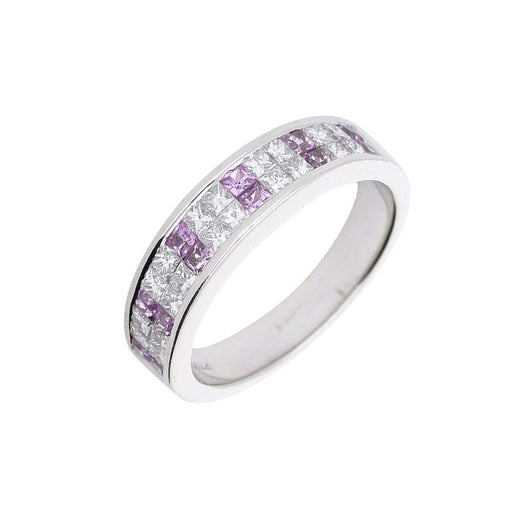 Buchwald Ring Platinum diamond and pink sapphire half eternity ring