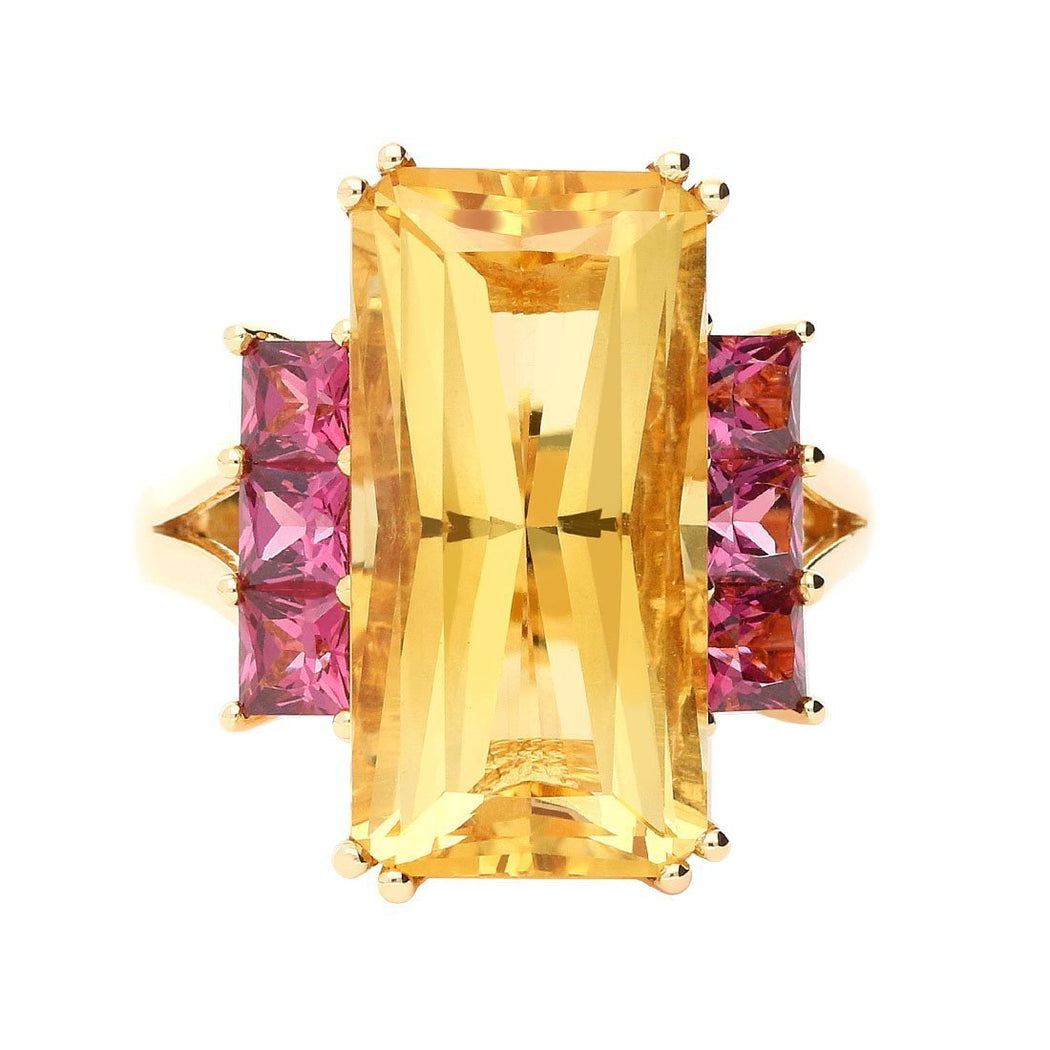 Ring Buchwald rose gold citrine ring with pink rhodolite side stones