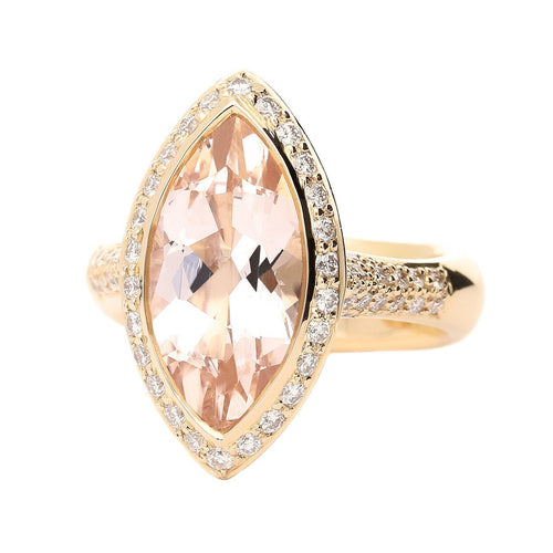 Buchwald Ring Rose gold large marquise morganite and diamond ring