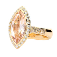 Load image into Gallery viewer, Buchwald Ring Rose gold large marquise morganite and diamond ring