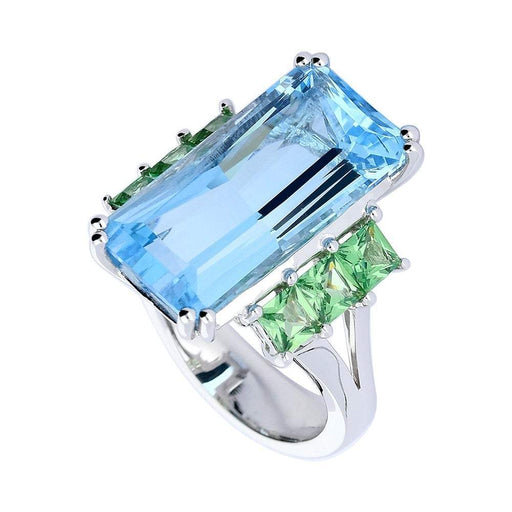 Buchwald Ring White gold blue topaz ring with tzavorite side stones