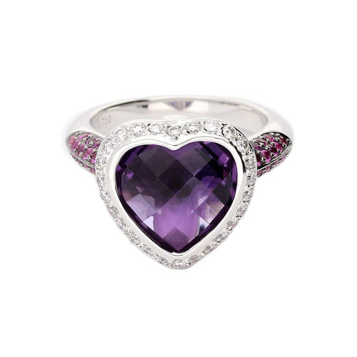Buchwald Ring White gold heart shaped amethyst ring with pink sapphire and diamonds