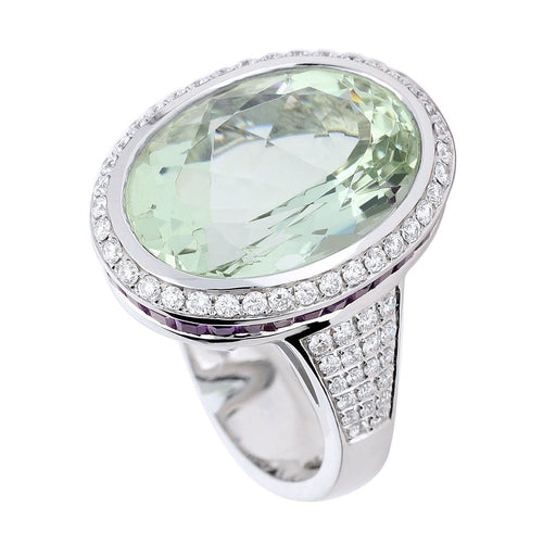 Buchwald Ring White gold ring set with a 14ct green beryl surrounded by amethyst and diamonds