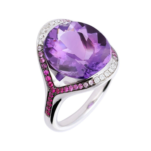 Buchwald Ring White gold ring with amethyst centre thats enhanced by sapphire's and diamonds