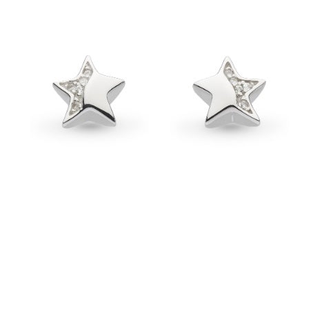 Kit Heath Silver CZ miniature sparkle shining star stud earrings