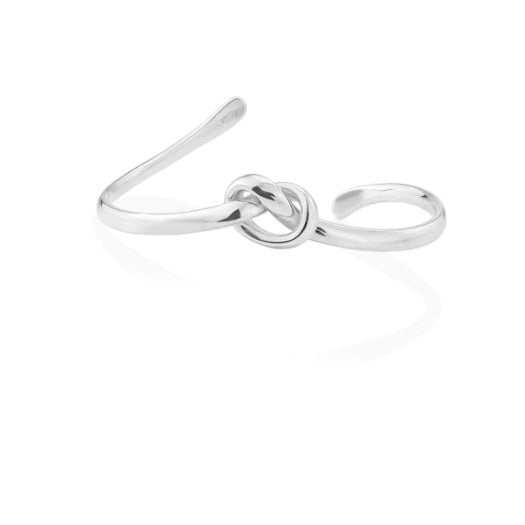 Silver knot open bangle