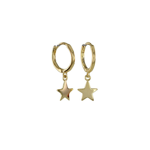 Gold sleepy star hoop earrings