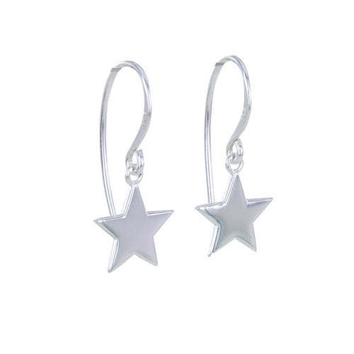 Silver star hook earrings