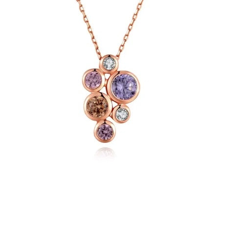 Fei Liu Rose gold and pastel CZ bubble pendant