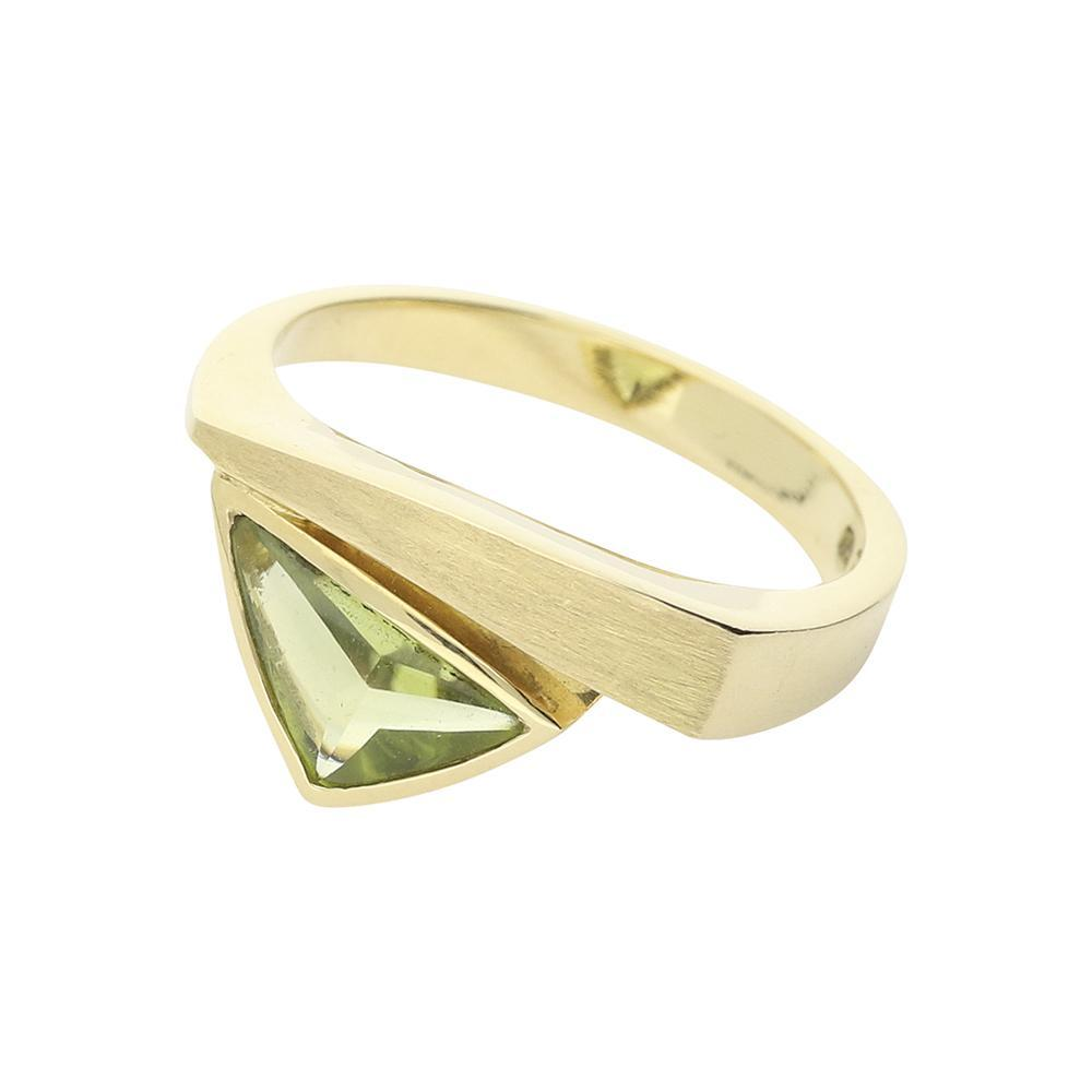 Cede Ring Cede 14ct gold peridot matt finished ring