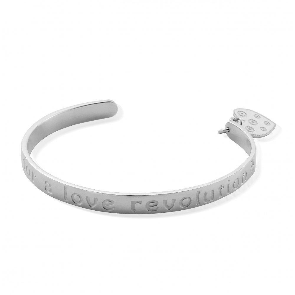 Chlobo Bangle Chlobo Silver love revolution heart charm bangle