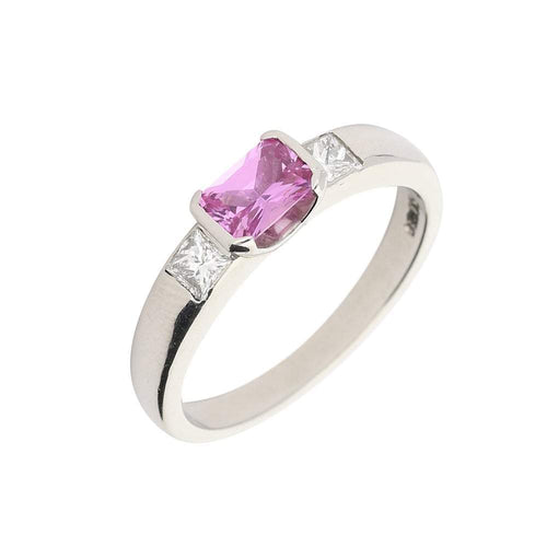 Christopher Wharton Ring Platinum pink sapphire and diamond trilogy ring