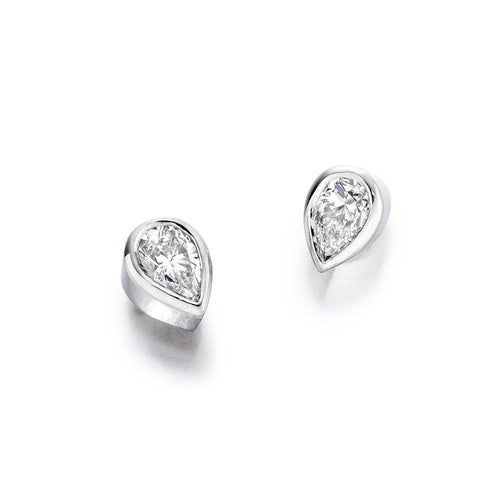 Christopher Wharton Earrings Wharton 18ct white gold pear shaped diamond studs