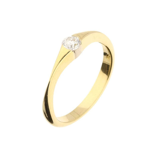 Christopher Wharton Ring Wharton 18ct yellow gold diamond solitaire with pinched tapered sides