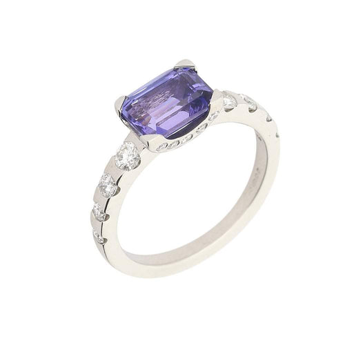 Christopher Wharton Ring Wharton platinum and tanzanite ring with diamond shoulders