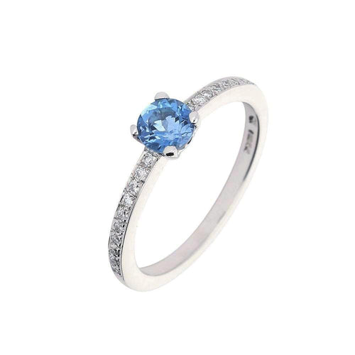 Christopher Wharton Ring Wharton platinum aquamarine ring with diamond set sides