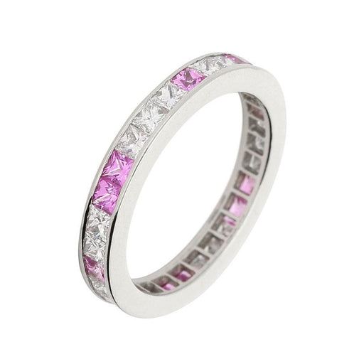 Christopher Wharton Ring Wharton platinum diamond and pink sapphire full eternity band