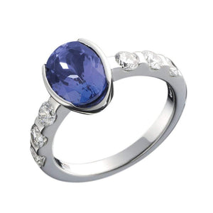 Christopher Wharton Ring Wharton Platinum oval Tanzanite Diamond ring