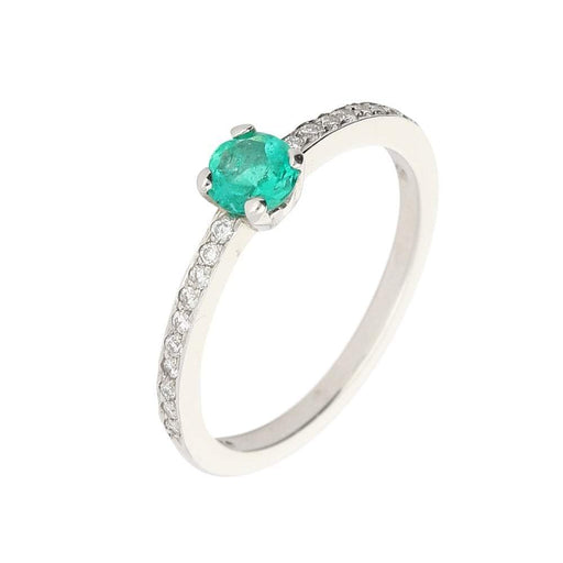 Christopher Wharton Ring Wharton platinum single emerald ring with side set diamonds