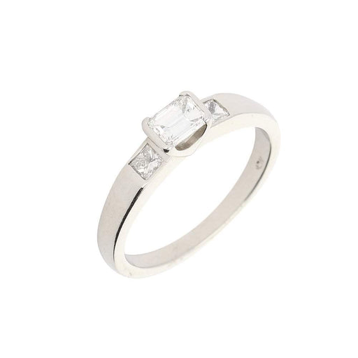 Christopher Wharton Ring Wharton Platinum three stone emerald cut diamond ring