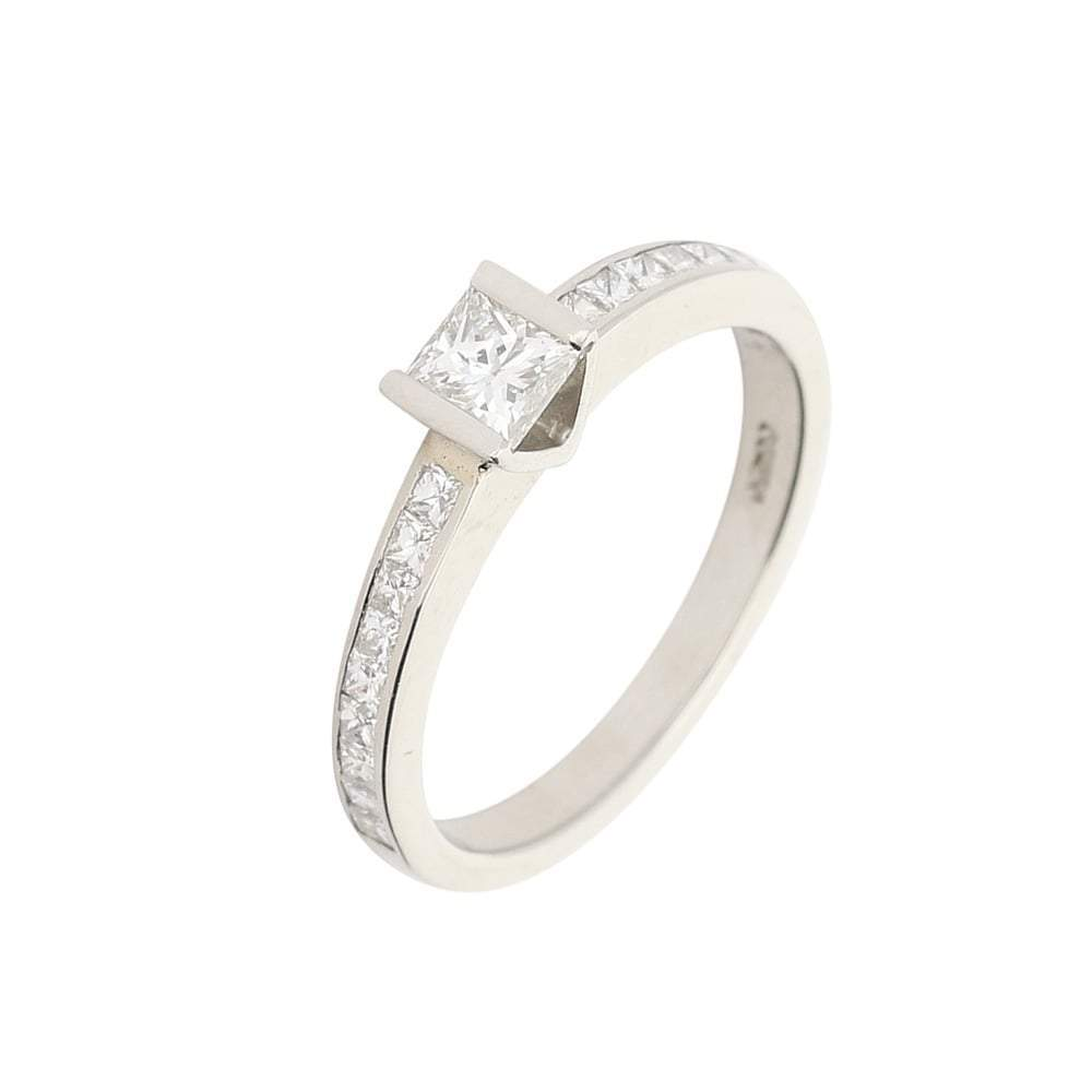 Christopher Wharton Ring Wharton princess cut diamond ring with set shoulders