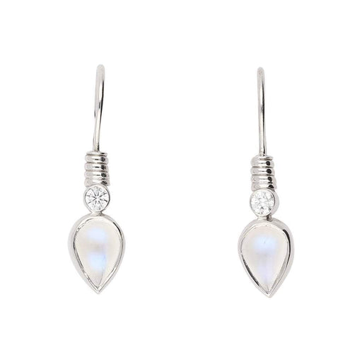 Christopher Wharton Earrings Wharton white gold moonstone and diamond hook earrings