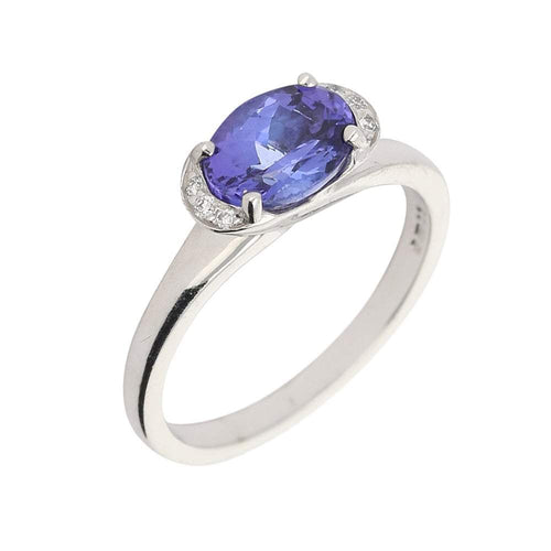 Christopher Wharton Ring Wharton white gold oval tanzanite and diamond ring