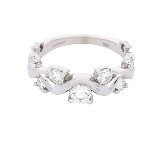 Christopher Wharton Ring White gold scattered diamond wave shape ring