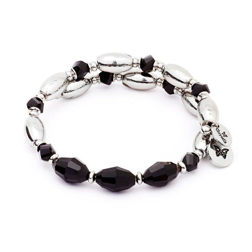 Chrysalis Bangle Chrysalis silver black crystal gaia fire wrap bangle