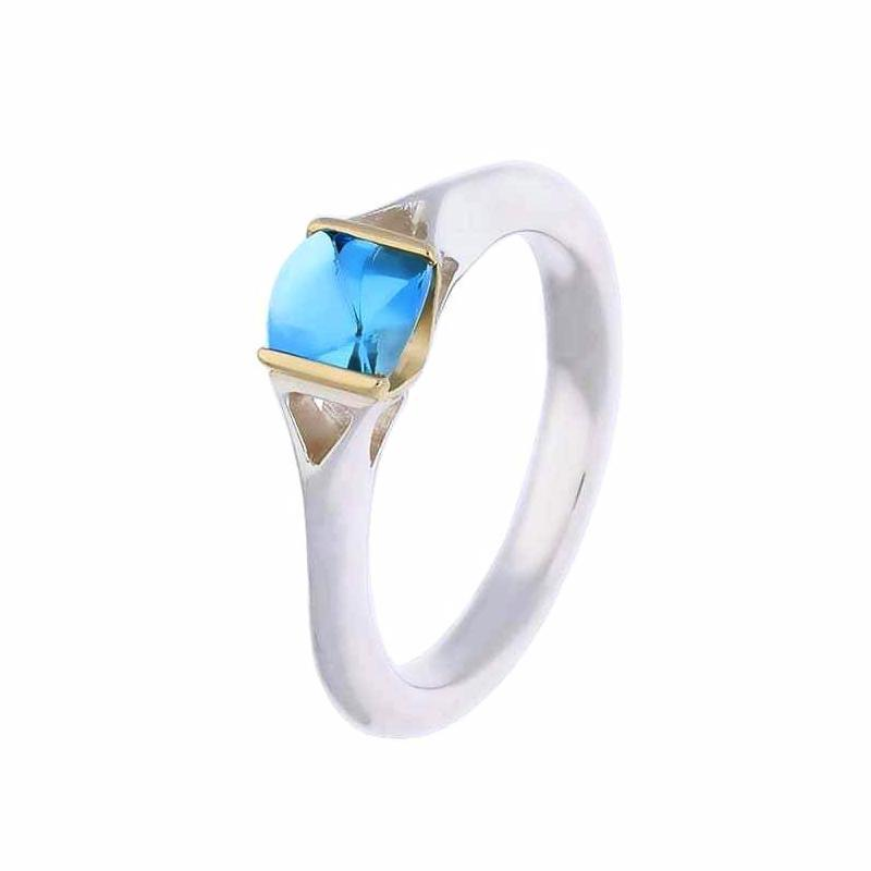 Church House Ring Church House Silver and gold cushion cut blue topaz ring