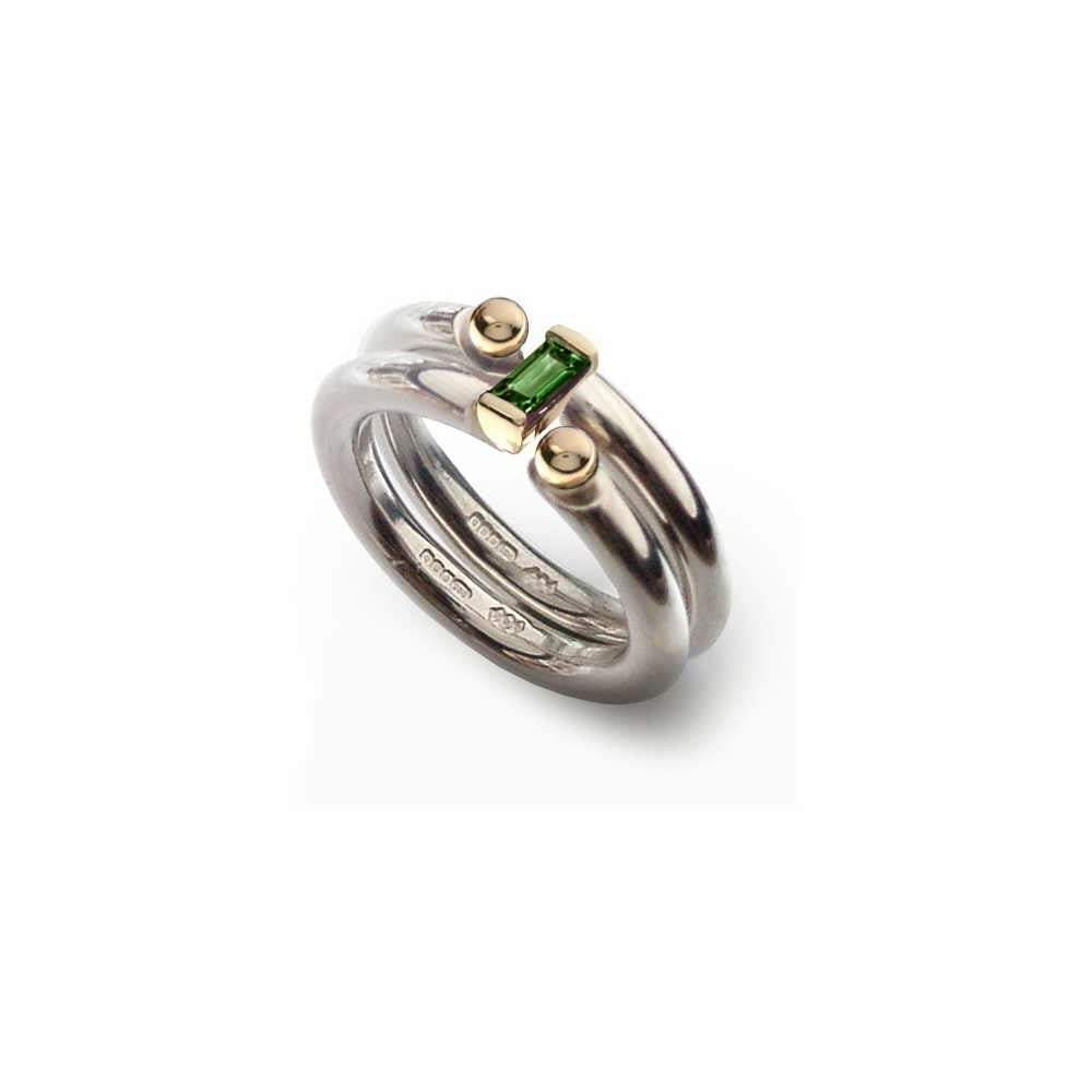 Church House Ring Church House Silver gold green tourmaline interlock ring