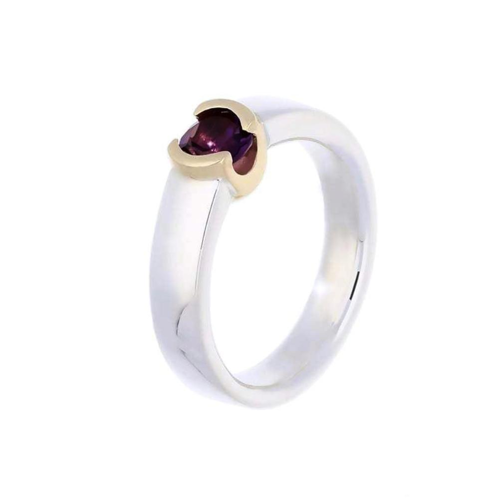 Church House Ring Church House Silver gold round Amethyst ring