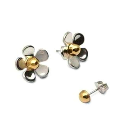 Church House Earrings Silver 9ct gold daisy studs