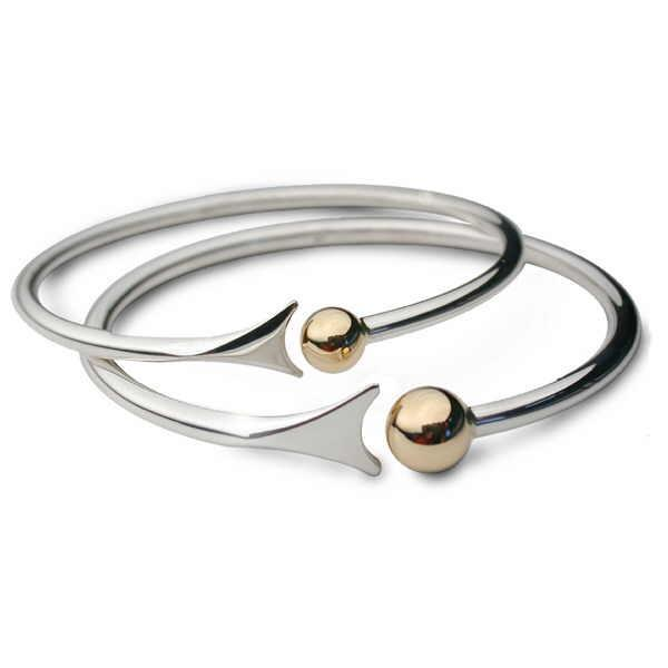 Bangle Church House Silver and gold bead fishtail bangle