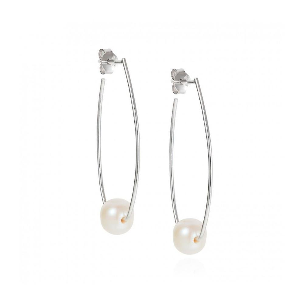 Claudia Bradby Earrings Claudia Bradby Silver white pearl trapeze drop earrings