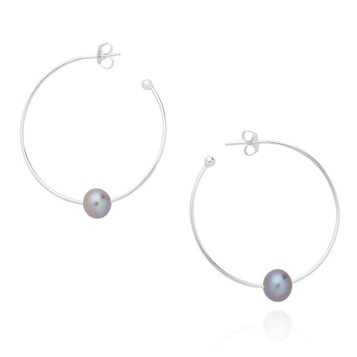 Earrings Claudia Bradby Silver grey pearl essential hoop earrings