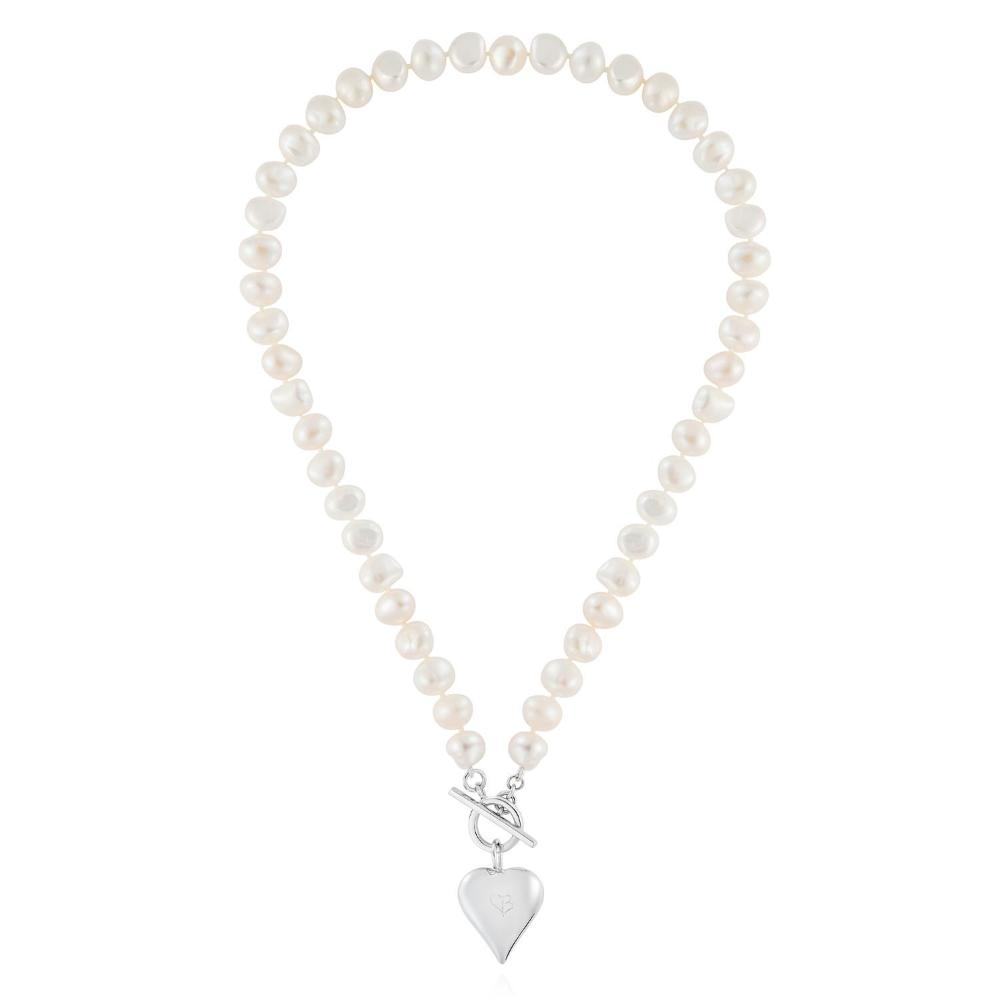 Necklace Claudia Bradby Silver signature heart white pearl long necklace