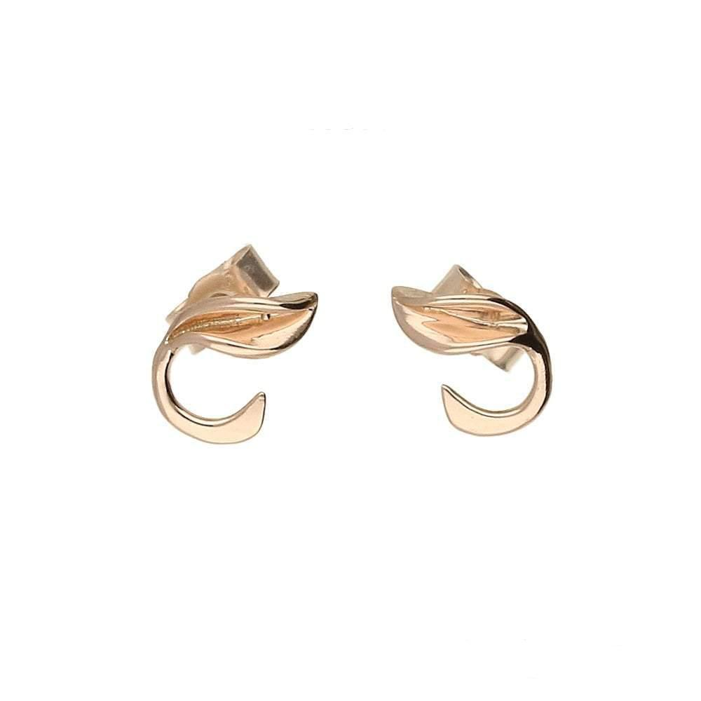 Collette Waudby Earrings Collette Waudby rose gold curled stem leaf stud earrings