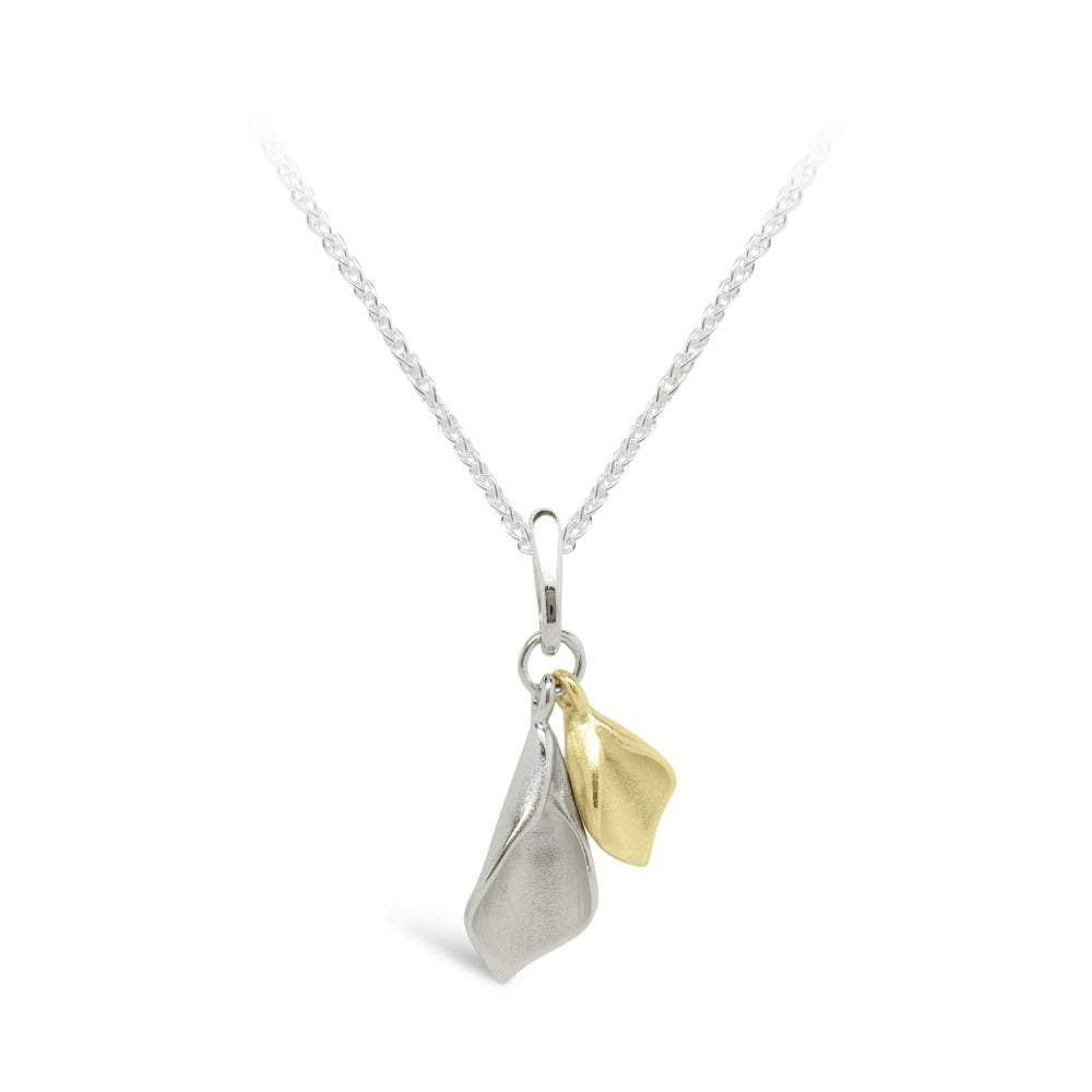 Collette Waudby Pendant Collette Waudby Silver and gold tiny double calla lily pendant
