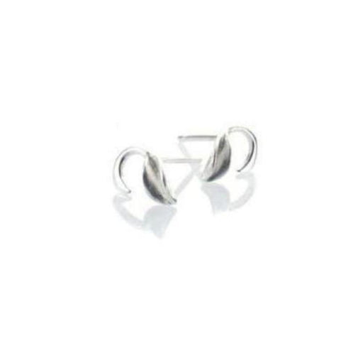 Collette Waudby Earrings Collette Waudby Silver curled stem leaf stud earrings