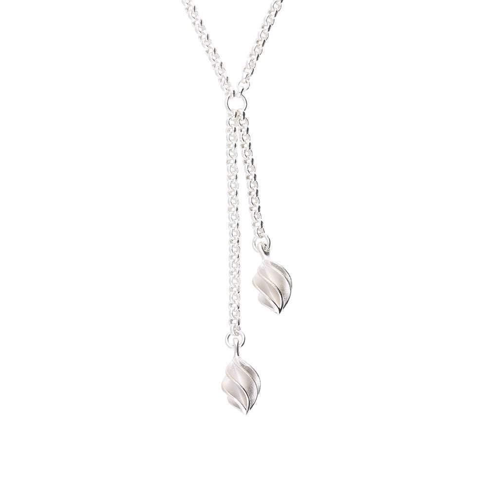 Collette Waudby Necklace Collette Waudby Silver double globe drop necklace