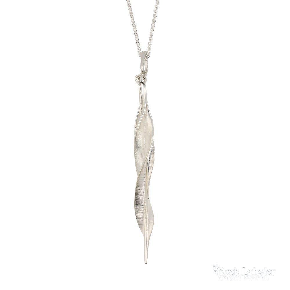 Collette Waudby Pendant Collette Waudby Silver double slim twisted leaf pendant