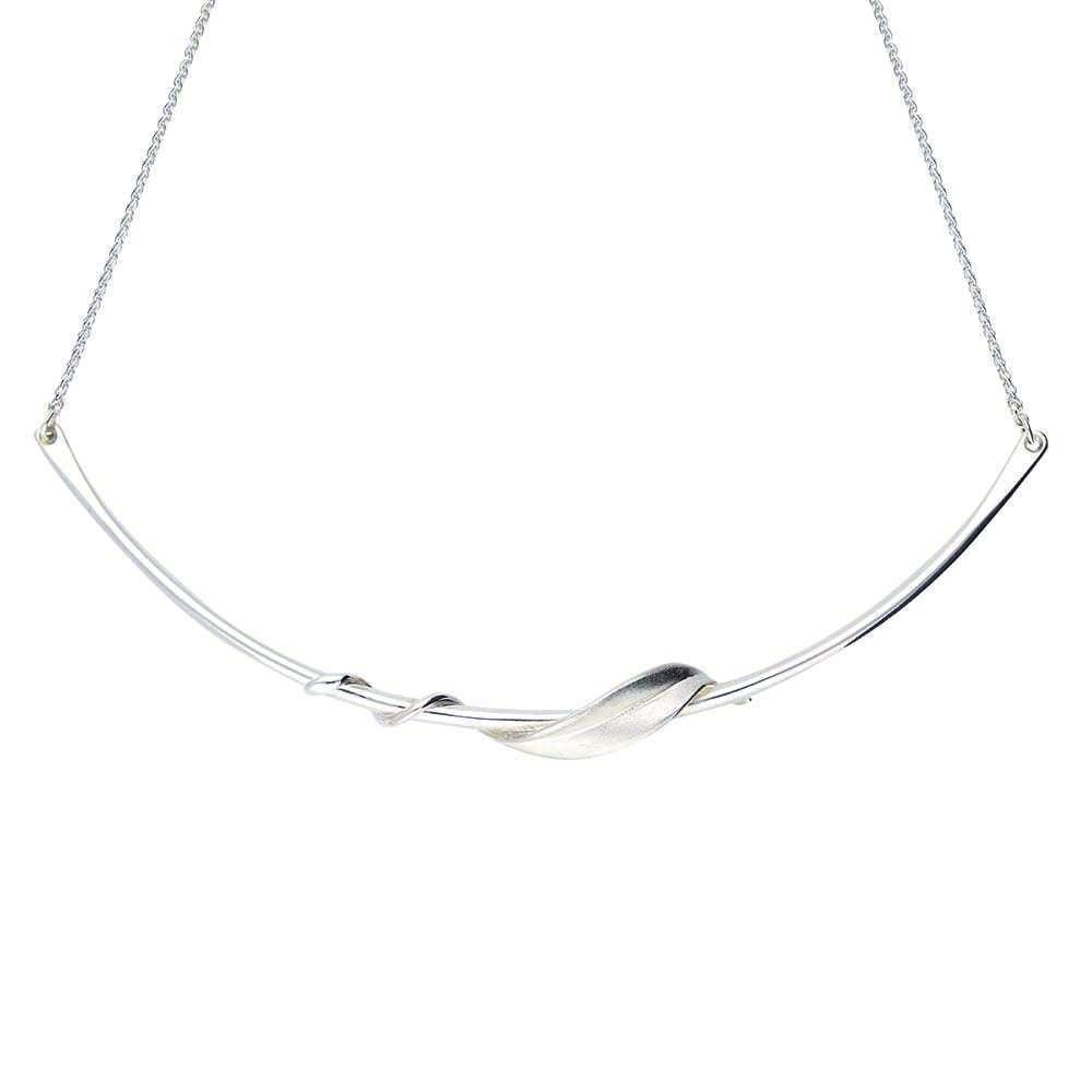 Collette Waudby Necklace Collette Waudby Silver entwined leaf bar necklace