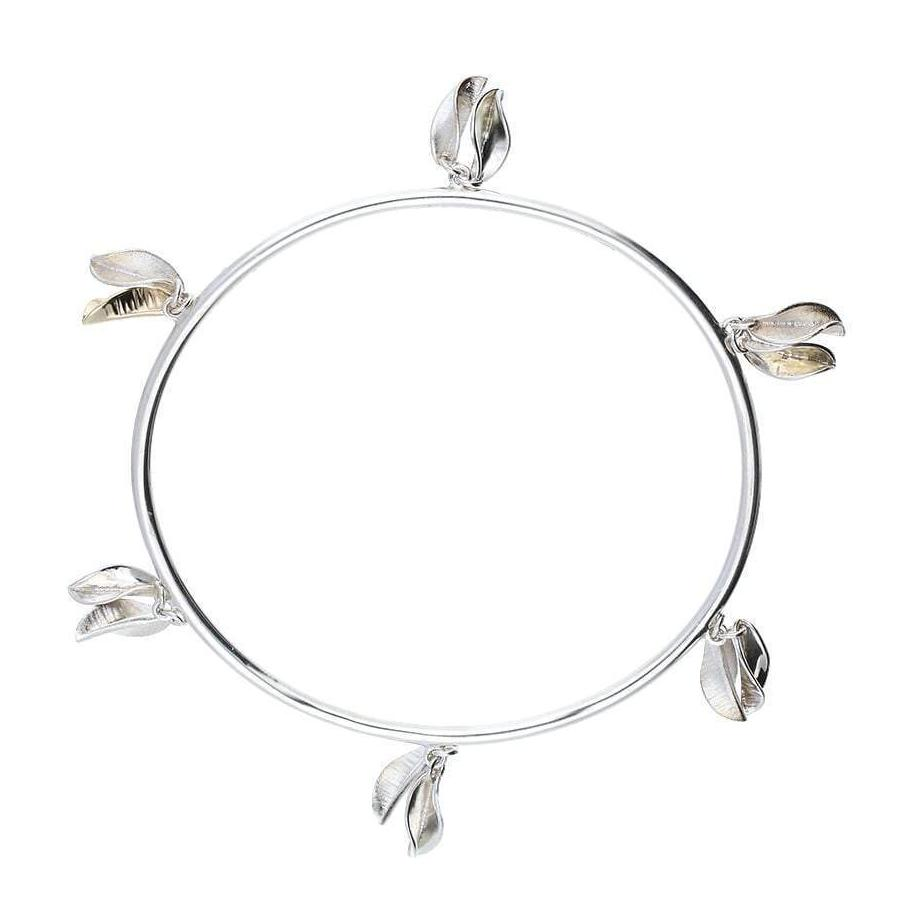 Collette Waudby Bangle Collette Waudby Silver gold 12 leaf bangle