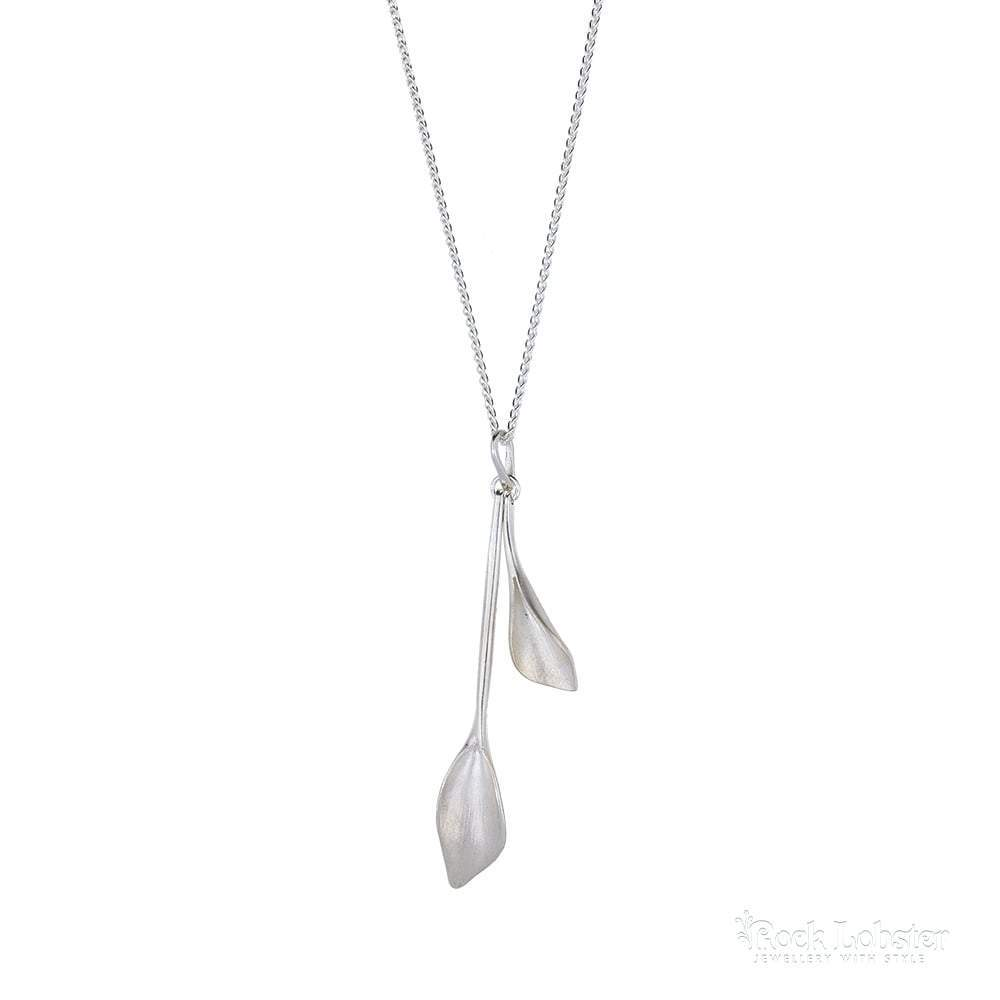Collette Waudby Pendant Collette Waudby Silver long double leaf pendant