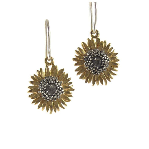 Daisies & Sunflowers Earrings Gold sunflower hooks